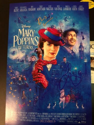 EMILY BLUNT SIGNED MARY POPPINS RETURNS PHOTO 12X18 BEN WHISHAW AUTOGRAPH