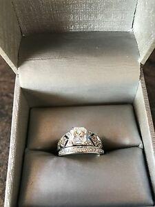 3/4 carat custom made engagement ring with matching band