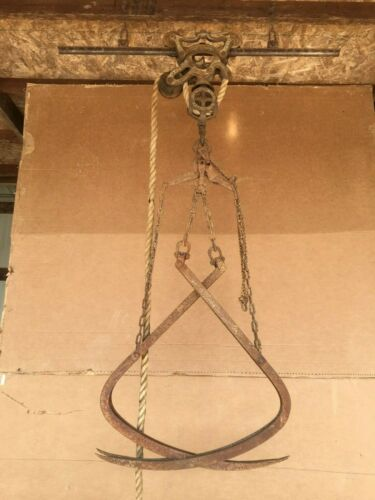 antique barn hay trolley with track & hay fork rustic light fixture