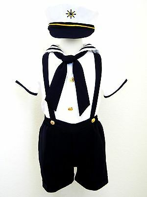 Baby Boy/ Toddler Formal Sailor Suit/Outfit/Costume- White & Navy- 2T,3T,4T - Toddler Sailor Suit