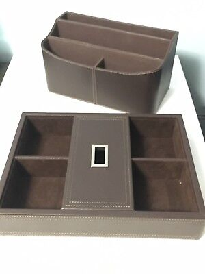 Thomas Obrien Vintage Modern Brown Leather Desk Top Organizer Brown File Holder