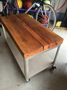 Barn beam wood cart/table