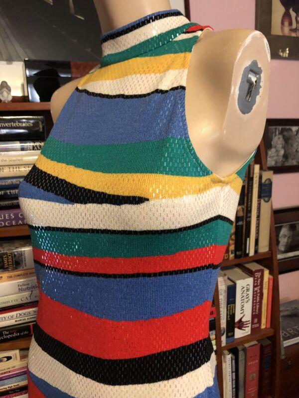 Vintage ST. JOHN MULTI COLOR FITTED HALTER SPARKLY PAILLETTES COCKTAIL DRESS 2