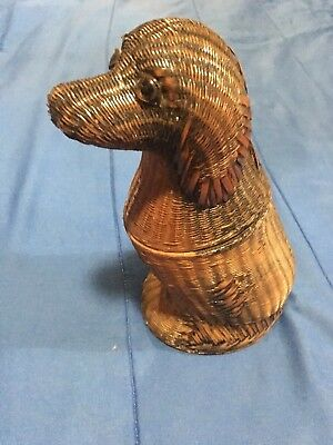 VERY RARE Vintage Wicker DOG BASKET ZHEJIANG Handicrafts