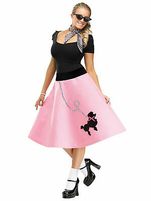 50's Ladies Pink Skirt Soda Shop Women Grease Costume Accessory Sequin Poodle (Grease Poodle Skirts)