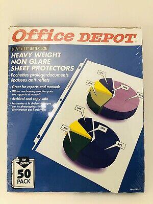 Office Depot Non-glare Heavy Duty Sheet Protectors 50 Ct Count New Nip