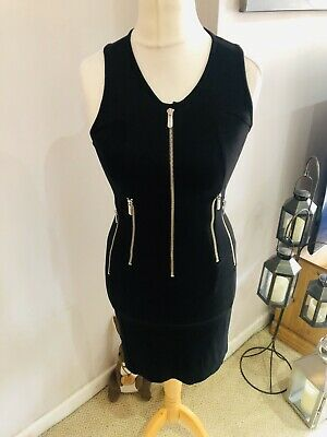 Versace Versus Black Zip Detail Dress Size 10 Racer Back Designer Flattering