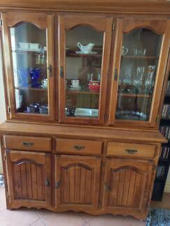 6 Seater Timber Dining Table Chairs And Matching Buffet Hutch