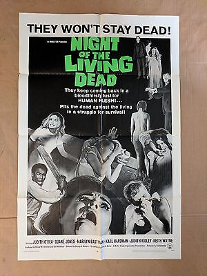 NIGHT OF THE LIVING DEAD 1968 ORIGINAL MOVIE POSTER 1SH - THEY WON'T STAY DEAD!