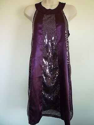 New medium purple sequin lined halter clubwear cocktail party homecoming dress ()