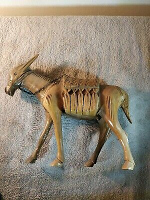 Hand Carved Decorative Single Wooden Donkey Horse Figure Woodware FREEPOST