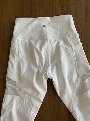 LULULEMON Women's White Workout Yoga Pants Leggings Size 6 New Without Tags