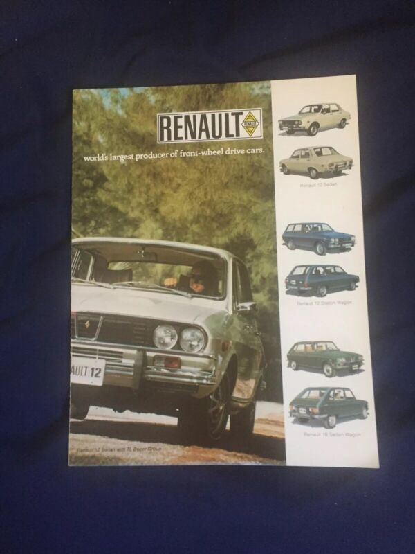 1971 Renault 12 and 16 USA Market Color Brochure Catalogue Prospekt