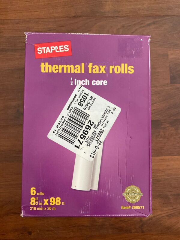 Staples Thermal Fax Rolls 1/2 Inch Core PARTIAL BOX 5 Rolls