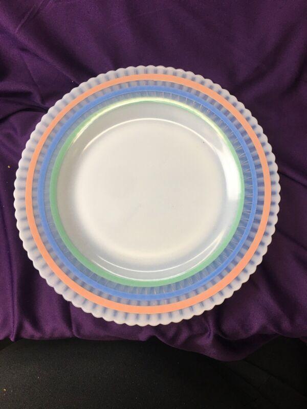 "RARE Macbeth Evans Petalware Monax White Pastel Banded Luncheon Plate 9-1/8"""