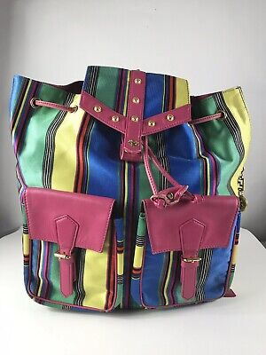Rare Vtg Gianni Versace Multicolor 90s Backpack