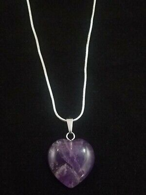 Amethyst Heart Necklace Gemstone Pendant on Sterling Silver Chain -
