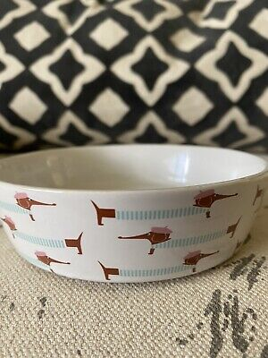 DACHSHUND Sausage Dog Small Round DOG BOWL Pink Blue Food Water Doxie Dish NEW