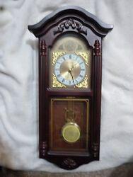 Daniel Dakota Wall Clock Cherry Wood Chimes Pendulum EC