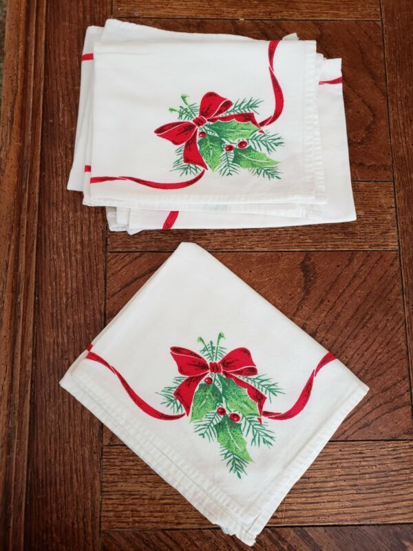 VINTAGE CHRISTMAS NAPKINS SET MATCHING BOWS RED GREEN RIBBON RETRO COLLECTIBLE 6
