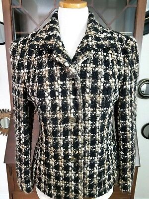 Bouclé Coat Petite (EUC Talbots Petites sz 10 wool boucle jacket blazer coat white black tan )
