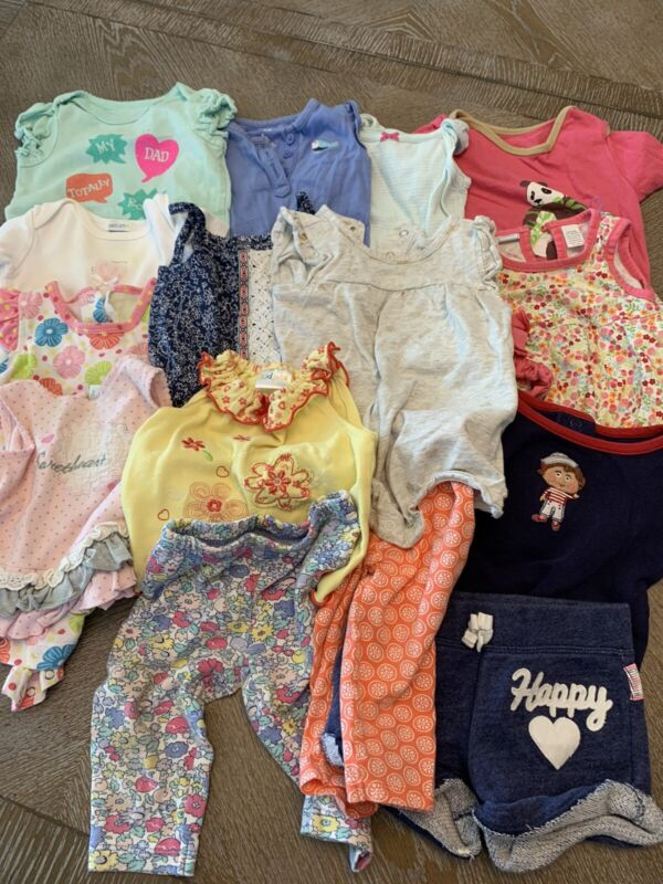 Baby Girl 6months Short Sleeves Summer Clothes Lot Of 15 Mixed Carters, Kidgets