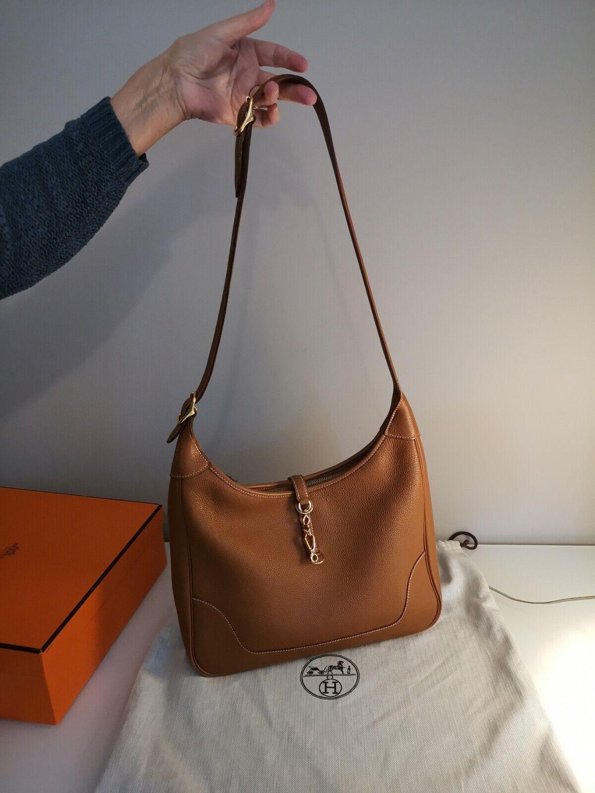 Authentique sac a main hermes trim 31 cm cuir grainé gold