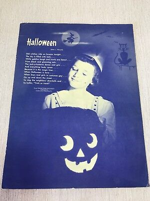 Halloween Poems Creepy (Original 1953 ad Halloween Pumpkin Creepy Cat Witch vtg Kids Poem & State)