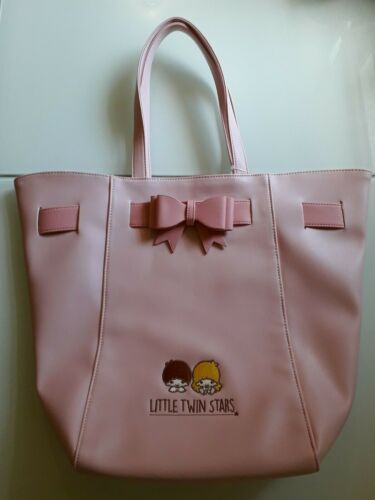 Sanrio Little Twin Stars Tote Bag Shoulder Purse Pink Leather