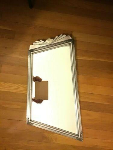 Vintage Silver Asymmetrical Stylized Art Deco Wall Mirror Gesso over Wood
