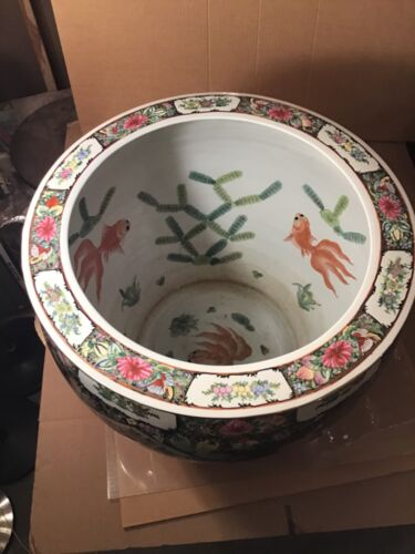 "Chinese Porcelain Monumental Fish Bowl Planter 20.5"" Diameter 18"" High ""Large"""