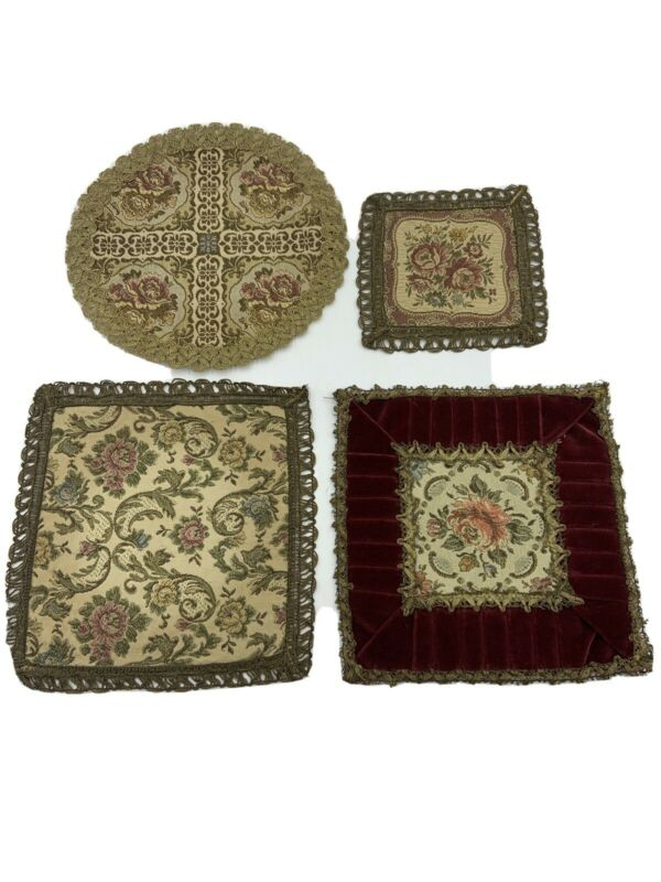 Vintage BELGIUM TAPESTRY Doily Metallic Lace Pleated Velvet Mixed Lot of 4