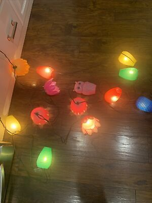 Vtg Blow Mold Owl Flower String Lights Party Patio Petal Lites RV Camper Lantern