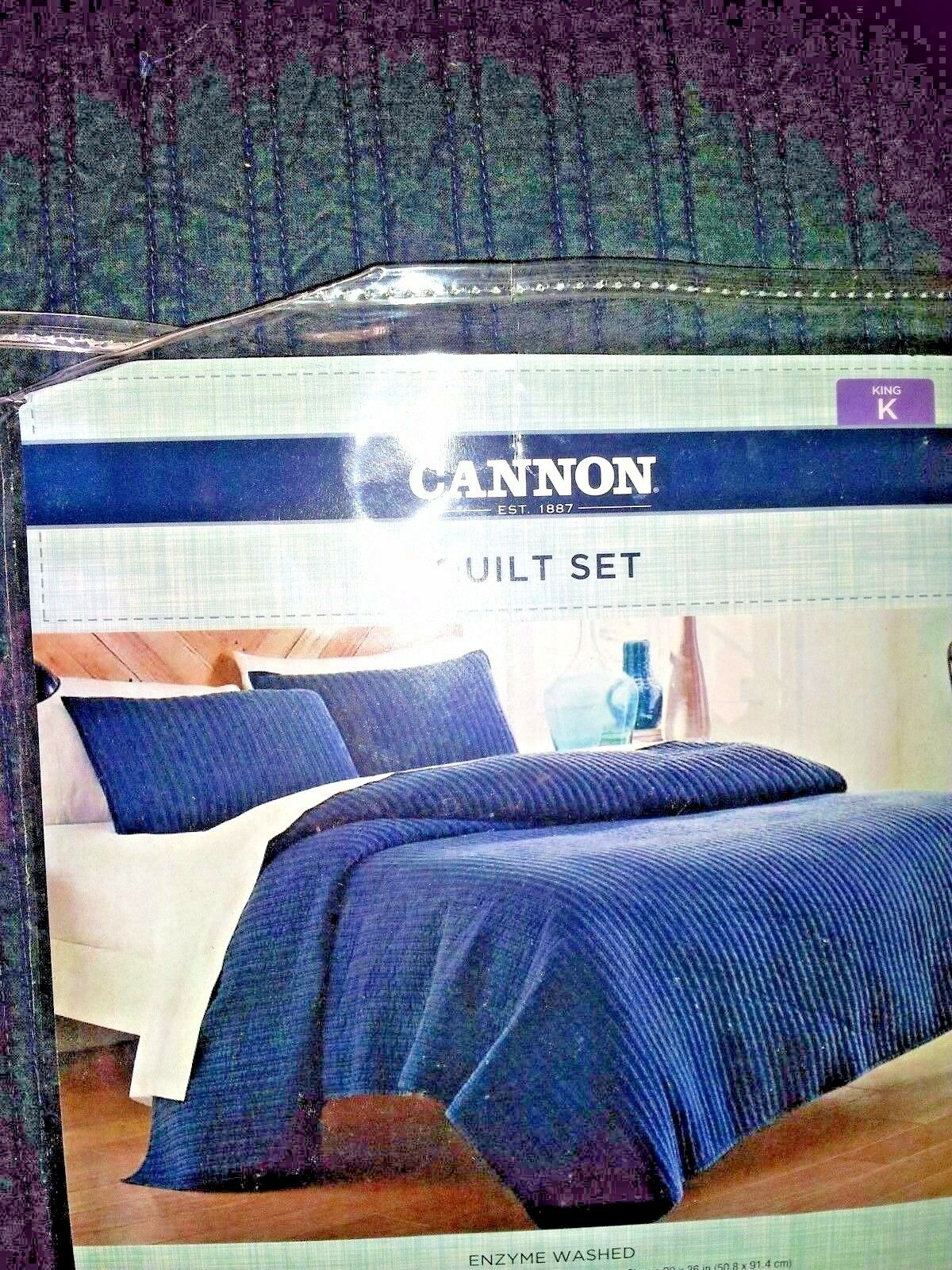 FULL / QUEEN SIZE Cannon Denim Quilt Set Solid  Blue  w 2 Sh