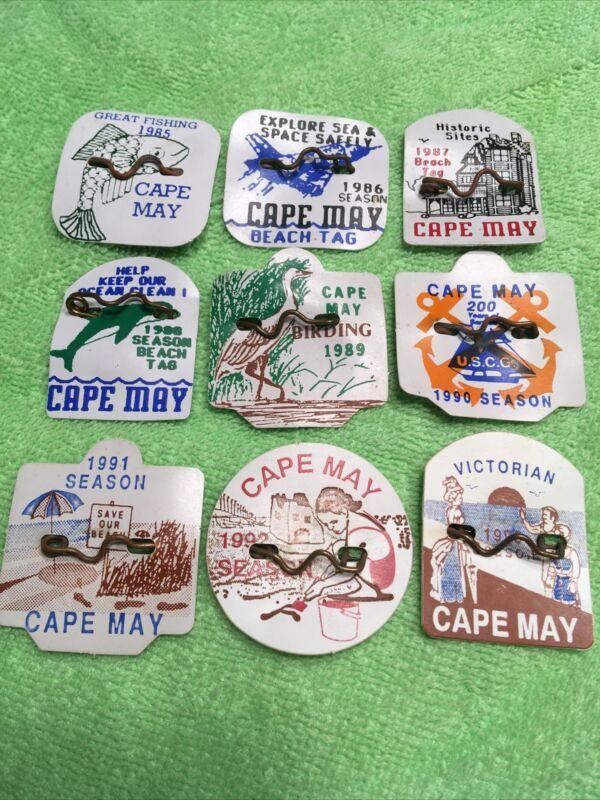 Pick 1—Original Seasonal Cape May, NJ Beach Tags/Badges 1985-1993 $ Per Tag