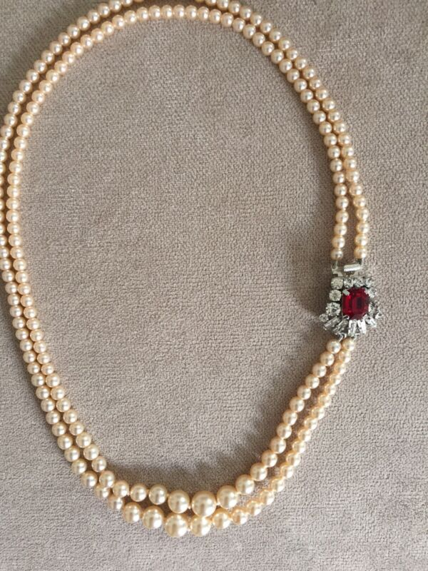 Vintage Two Strand Glass Pearl Necklace, With Stunning Red Glass/ Side Clasp