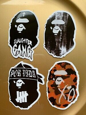 "A Bathing Ape Bape 3"" Vinyl STICKER Lot Skateboard Car Bumper Supreme Slaughter"