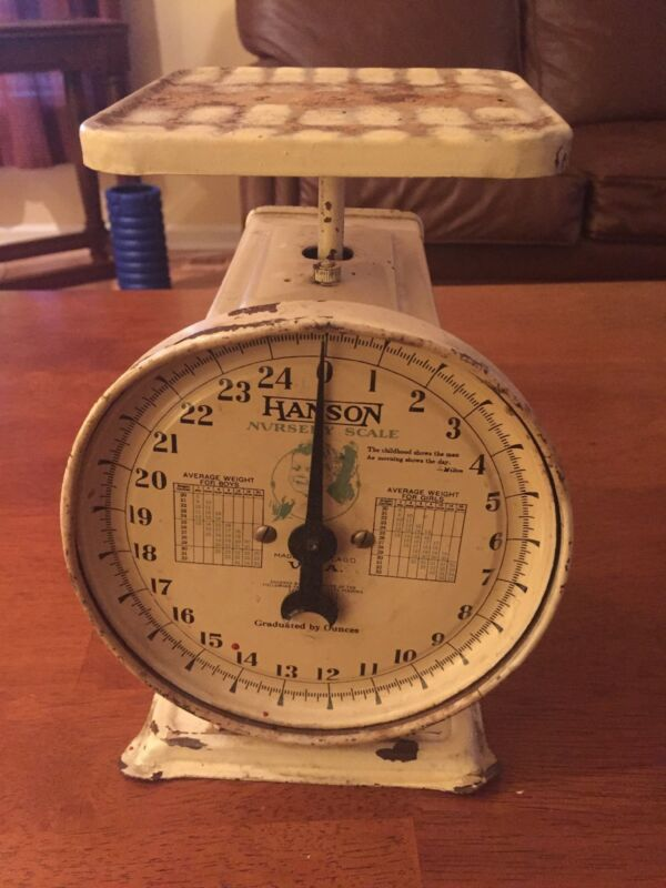 Vintage Hanson Nursery Scale Without Wicker Basket, Baby Pictured