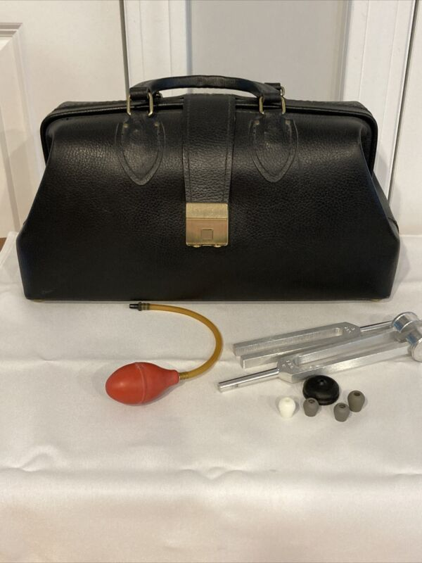 SCHELL Vintage Antique Black Leather Medical Doctors House Call Bag w/Contents
