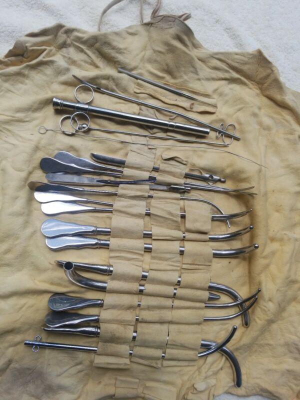 Antique Vintage Gemrig Medical Surgical Lot of 21 Tools Instruments buckskin