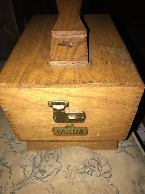 VINTAGE GRIFFIN SHINEMASTER SHOE SHINE BOX DOVETAIL WOOD