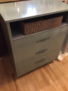 Green dresser cabinet with basket- -