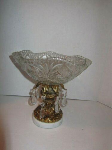 Vintage Crystal Compote Bowl Gold Marble Base Prisms Mid Century Modern