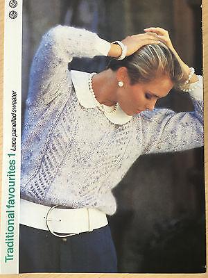 Vintage KNITTING PATTERN Ladies Lace Panelled Sweater V Neck Jumper Emu PATTERN