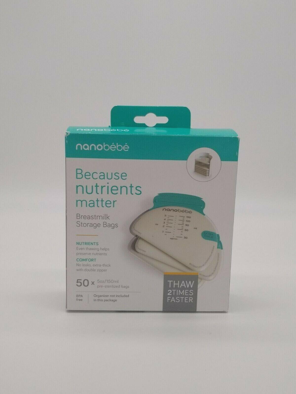 Nanobebe Breastmilk Storage Bags 50 Pre Sterilized Bags 5 Oz 150 Ml Each - $12.00