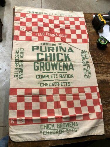 GRAPHIC Vintage PURINA CHICK GROWENA Corn Cloth Farm Sack OLD Bag Chicken Feed