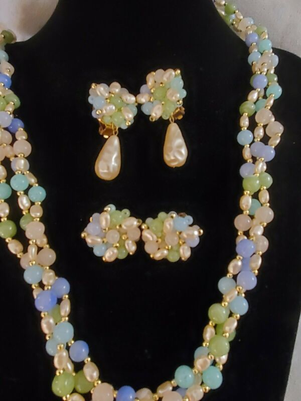 Vintage Restored Pastel Multistrand Bead Necklace Set 2 Earring Pairs Mix &...