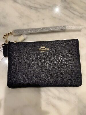**BN COACH grained leather pouch Wristlet Makeup Bag **NEW*