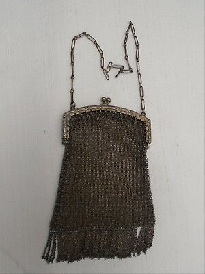 1920s Style Purses, Flapper Bags, Handbags Antique 1920's Fine Mesh Purse Deco Flapper Made in Canada Silver Plated  $52.00 AT vintagedancer.com