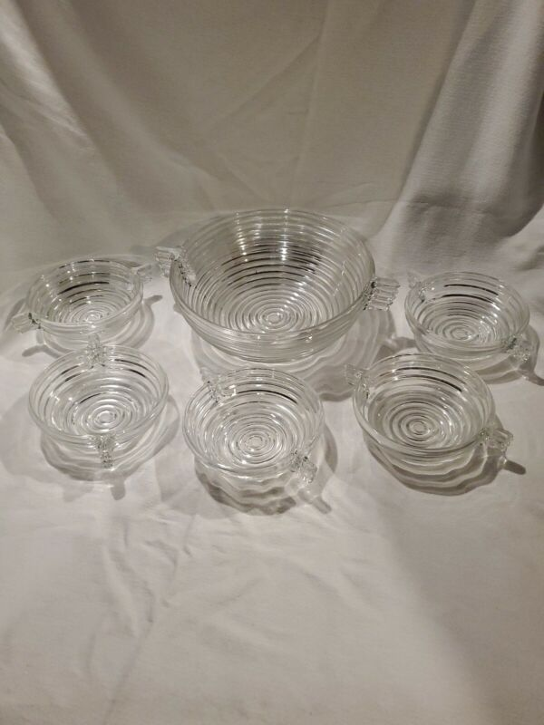 Vintage Anchor Hocking MANHATTAN Salad Bowl Handles Clear Ribbed with 5 Bowls